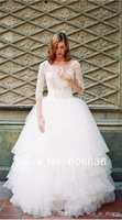 2014 Summer Ball Gown Tulle Lace top Beading Dream Wedding Dresses Long Sleeves Backless Bridal Wear Hot Wholesale Drop Shipping