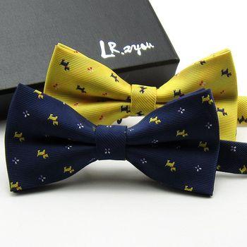 Вещицы для животных Lrzyou-male-women-s-fashion-formal-commercial-butterfly-bow-tie-golden-Dark-Blue-cartoon-puppy-pattern.jpg_350x350