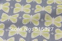 "50cm*110cm Japanese KOKKA DIY Pachwork Fabric  Linen Fabric  ""GARDEN""  Butterfly   LightGrey"