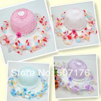 Retail 2014 Free shipping New Summer Children flower hat baby girls Lace hat Sun hat Straw hat fashion