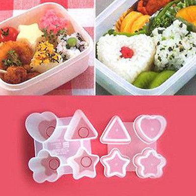 "S105""1set New Cute Shape Triangle Star Flower Heart Food Mold Sushi Mould Bento DIY Tool(China (Mainland))"
