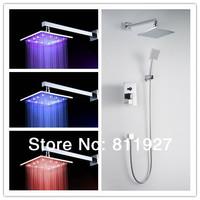 10 inch brass bathroom rainfall led shower faucet mixer tap set with copper shower head torneira banheiro chuveiro lada ducha