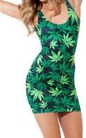 New Fashion 2014 Sexy Milk Silk Leaves Print Dress For Women Plus Size S M L XL
