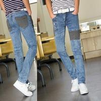 Light blue mill white Spring .Summer style Korean Slim / zipper men's jeans / fashion s casual cotton pants feet