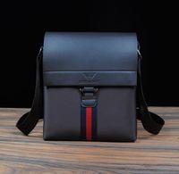 Men's PU Leather with Oxford Striped Messenger Bag Casual Business Shoulder Bag Briefcase Black Brown Blue BG183