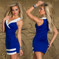 Women Sexy Patchwork Package Hip Clubwear Bandage Dresses Tank Bodycon Dress Vestidos,  Red, Blue, White, Size Free