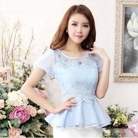 Hot!! New 2014 Fashion Summer Ruffle Chiffon Ladies Blouse Women Plus size slim short-sleeve Embroidery Lace Casual shirt Top
