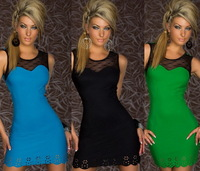 Women Sexy Lace Patchwork Package Hip Clubwear Bandage Dresses Tank Bodycon Dress Vestidos, Green, Blue, Black, Size Free