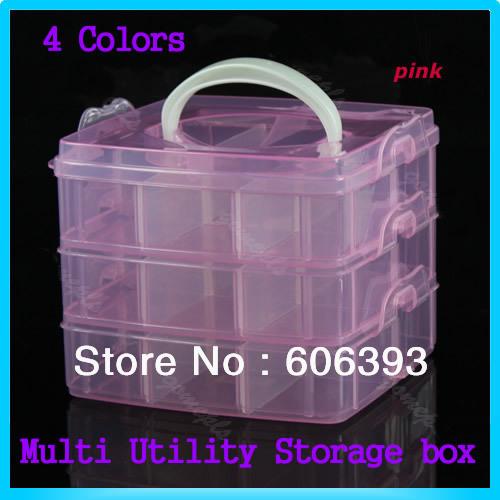 "S105""1PCS Multi Utility Storage Case Box 3 Layer Nail Art Craft Fishing Makeup Tool Free Shipping(China (Mainland))"
