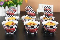 Free shipping cartoon car design 50 wrappers+ 50 insert cards  birthday cupcake decorations boys' fav
