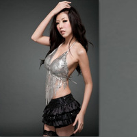 Sexy paillette tassel halter-neck bra bikini racerback ds lead dancer clothing