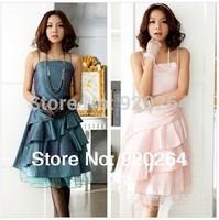 New Fashion Free Shipping 2014 Summer Sling  Strapless Ruffles Plus Size Knee-Length Women Party Dresses Mini Dress  Z-LS0011
