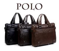 2014 Men's genuine leather briefcase bag for 14'' laptop bag Men's messenger bag Male POLO brand handbag
