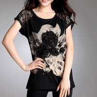 2014 Summer Short-Sleeve Floral Pattern Design Lady Tees Large Size O-Neck Simple Style Female Tops