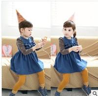 Popular baby girl dress Denim vest dress with flower lace Nice Looking girls dress New arrive