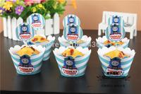 Free shipping cartoon train design 50 wrappers+ 50 insert cards  thomas birthday cupcake decorations boys' fav