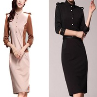 2014 Fashion Women's Stand Collar 3/4 Sleeve Knee-Length OL Slim Fit Pencil Dress With Belt Epaulettes Black/Apricot 654601