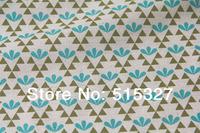 "50cm*110cm Japanese KOKKA DIY Patchwork Fabric  Quilting Cloth Linen Fabric  ""GARDEN""  Leaf   DarkTurquoise"
