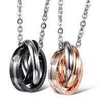 Titanium Steel Jewelry Wholesale Price Round Circle Knot Cubic Zirconia Pendants Couple Necklaces