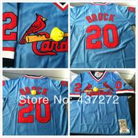 cheap free Shipping 2014 new St. Louis Cardinals #20 Lou Brock blue M&N Retro Baseball Jerseys Embroidery logos