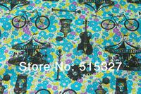 50cm*110cm Japanese Kokka DIY patchwork Tilda Cloth  Cotton Fabric  Bright flowers  Turquoise