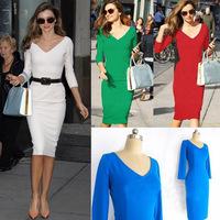 Victoria Beckham Dress For Women 2014 Summer Fashion V-Neck Half Sleeve Back Zipper Slim Business Dress White Red Green Blue2XL