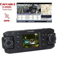 2013 New X8000 car dvr camera GPS G-Sensor Dual lens 2.0'' LCD 140 degree Wide Angle car black box Free shipping