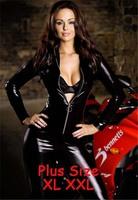 M-XXL Big Plus Size Sexy Erotic Lingerie Latex Cat Costume Catsuit PVC Black Body Suit Clubwear Vinyl Dress Jumpsuit