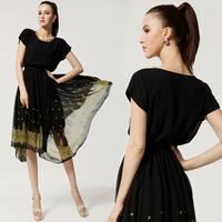 2014 New Golden Flower Laciness Irregular Hem Dress Slim Waist One-piece Dress Black Color Summer Silk Dress Plus Size S-XXL