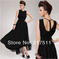 Free Shipping 2014 Spring Lacing Bare Back Slim Waist Floor Length Elegant Party Gowns Black Chiffon Long Evening Dresses 136908