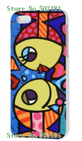 2014 hot!wholesale 1pc Romero Britto Girl  black case hard back cover for iPhone 4 4S 4G+free shipping