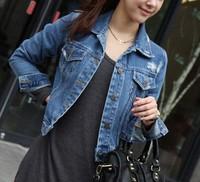 spring 2014 New Korean Slim Thin jeans Cute outwear Denim Jacket Lapel Jacket Women T10-19