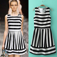 2014 New Fashion Summer Womens White Black Striped Dress Sleeveless Brief Dresses for Girl Women Free Shipping