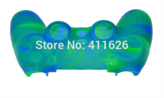 Gel Rubber Case for PS4 Skin Grip Cover for PS4 Controller Camo Blue Green silicon case 5PCS/LOT(China (Mainland))