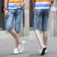 *-*..Spring Summer style Korean Slim / zipper men's jeans / fashion s casual cotton pants feet