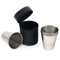 1set(4pcs) Mini Portable Stemless wine glass Travel home cup stainless steel Wine 270272 FREE SHIPPING