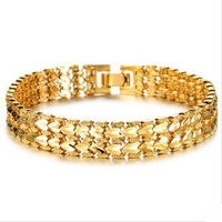 OLL JEWELRY 2014 Best Sell Luxury EU Style18K Real Gold plated 10mm Wide Bracelet Delicate Carving Attractive Jewelry, 403