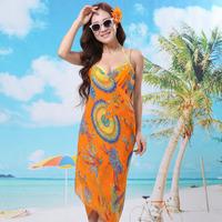 2014 New Saress Bikini Wrap Dress Women's Sarong Swim cover-ups Cross Beach dress Feather