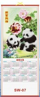 2015 new year calender printing,scroll wall calendar wholesale low price giveaways cane bamboo calendar  MOQ 500PCS