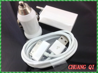 New 3 in 1 CN set: Mobile phone 1 pcs EU Plug +1pcs Car charger +1pcs data USB Cable Kit for iPhone 4 4S 3GS 3G iPod Touch #ZH60