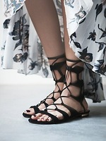 2014 Summer New Arrival 2014 Women Genuine Leather Cutout Flat Sandals Lace-up Gladiator Shoes