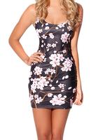 EAST KNITTING FASHION BL-396 2014 New Spring women digital printed Cherry Blossom Black Dress