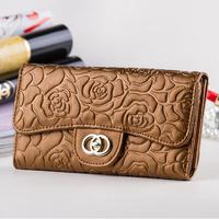 HOT 2014 flower embossed print luxury ladies wallets large capacity women purse female long design phone clutch card wallet