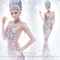 Free shipping!!  Theme wedding 2014 New paillette slim hip costume luxury wedding dress bridal gown vestido de noiva