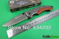 2014 New Strider B47 folding knife Tactical knives 3CR13 57hrc Quick opening aluminum wood handle Hunting camping tools 1pcs