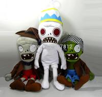 "2014  Plants Vs Zombies Plush Toy 3PCS/Set  10"" PVZ Pirates Zombie/Egypt Zombie/Cowboy Zombie Best Gift Free Shipping"