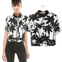 Bershka 2014 spring and summer fashion women's  for palm   tree knitted cotton shirt short-sleeve shirt