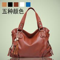 Fashion women bags 2014 female casual messenger bag messenger bag genuine leather handbag tassel women's