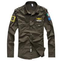 HOT!spring 2014 fashion man shirt shirts Military long sleeve men clothing army cotton men shirt camisa social brand casual XXXL