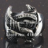"1Pc Fashion Punk Carved Eagle ""LIVE TO RIDE"" Stainless Steel Motor Biker Men's Finger Ring"